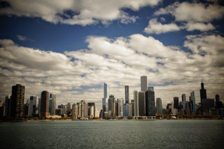 přístav, nábřeží, Panorama, městský, centrum města, mrakodrap, město, architektura