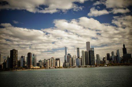 havn, skyskraper, bybildet, vannkanten, skyline, sentrum, arkitektur, byen