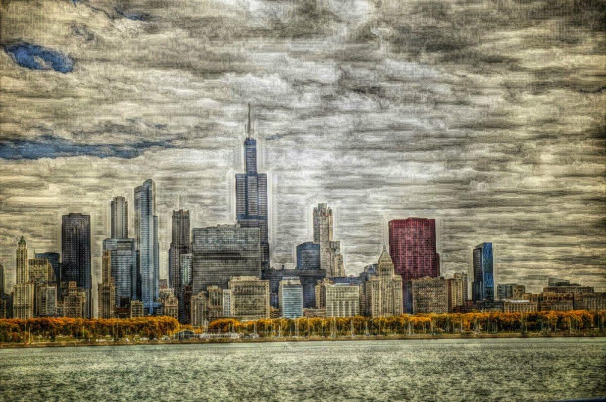 Luchtfoto, centrum, met uitzicht op, wolkenkrabber, gebouw, gezichtseinder, stad, stedelijke