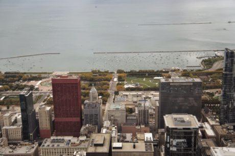 панорама, вода, небостъргач, град, архитектура, сграда, пътуване, на открито