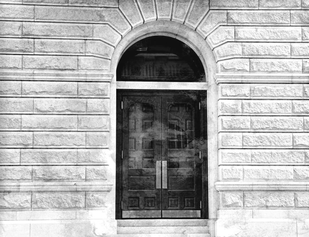 lengkungan, hitam, hitam dan putih, pintu depan, abu-abu, monokrom, pintu, bangunan
