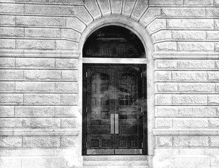 καμάρα, μαύρο, μαύρο και άσπρο, μπροστινή πόρτα, γκρι, μονόχρωμη, πόρτα, κτίριο