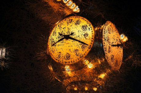 clock, timepiece, time, analog clock, light, gold, art, decoration