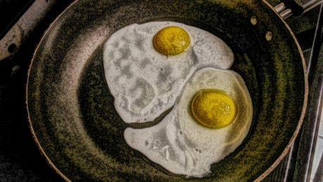 vajíčko, vaječný žloutek, výtvarné umění, kuchyně, kuchyňské nádobí, olejomalba, pánev, jídlo