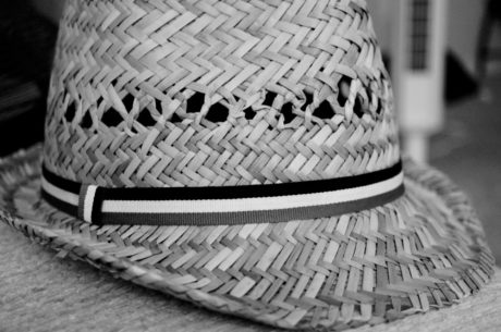 noir et blanc, chapeau, monochrome, Old-fashioned, à la main, en osier, conception, panier