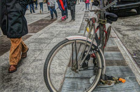 cykel, spöke, enhet, hjulet, personer, fordon, väg, gata