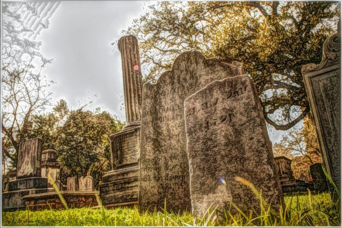 mezarlığı, mezar, mezar taşı, illüstrasyon, manzara, ağaç, bulut, mimari