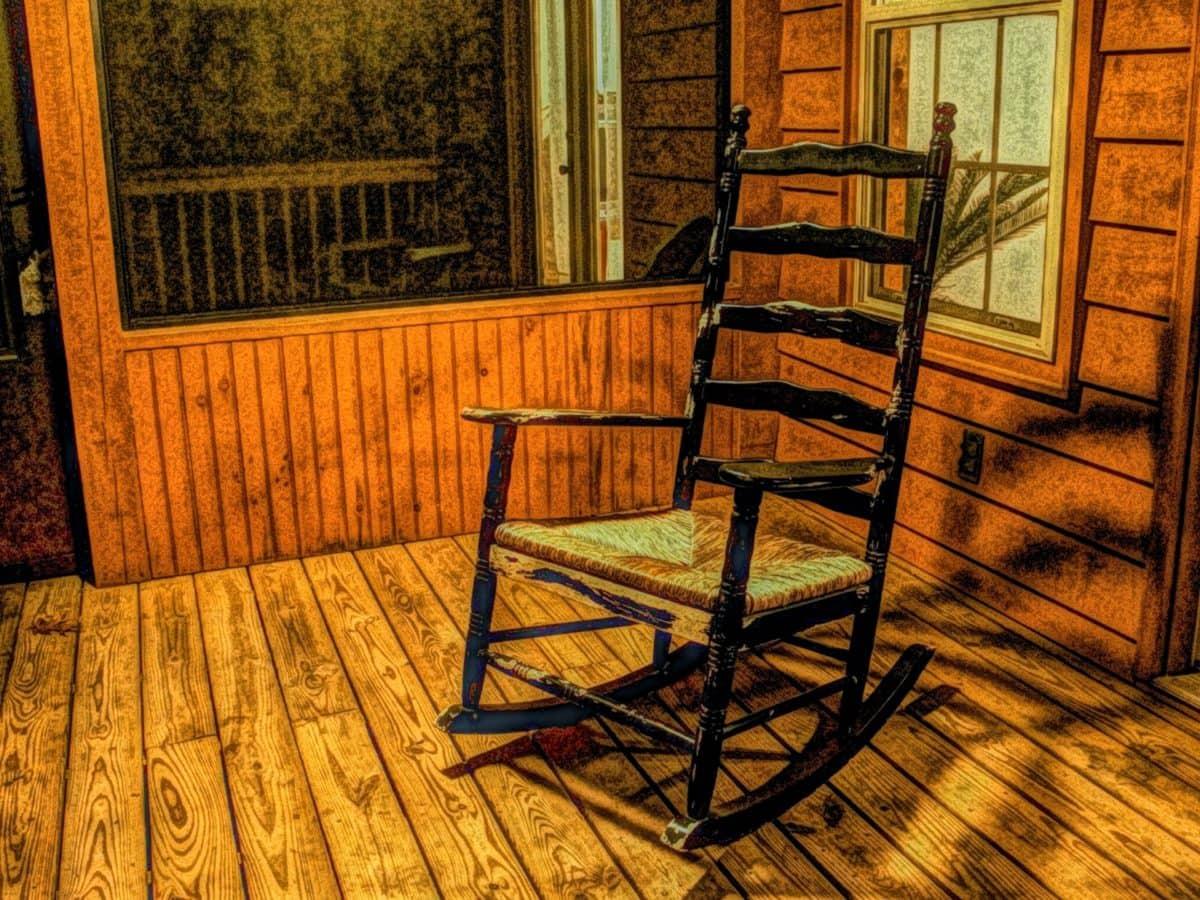 Bildende Kunst, vor der Tür, Veranda, Abbildung, Ölgemälde, Möbel, Stuhl, Holz