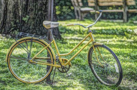 olajfestmény, ülés, kerékpár, kerékpározás, támogatás, eszköz, kerék, fű