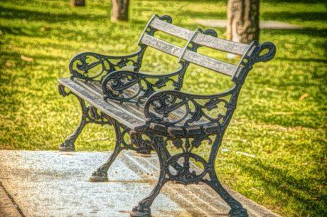 Belle arti, pittura a olio, Panca, mobili, sedile, Giardino, Parco, erba