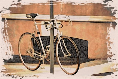 fine arts, oil painting, painting, bike, wood, bicycle, cycle, seat