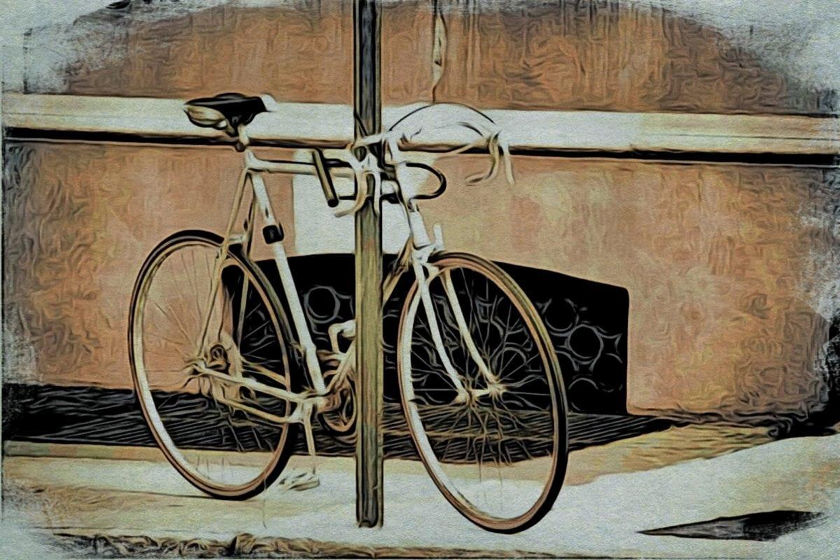 kunst, nostalgi, oljemaleri, årgang, tre, sykkel, sete, gamle