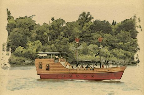 kunst, illustrasjon, båt, skipet, pirat, vraket, fartøy, håndverket