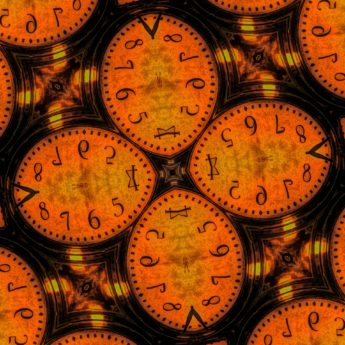 Arabesque, forvrengt figur, fotomontasje, figur, analog klokke, klokke, tid, timepiece