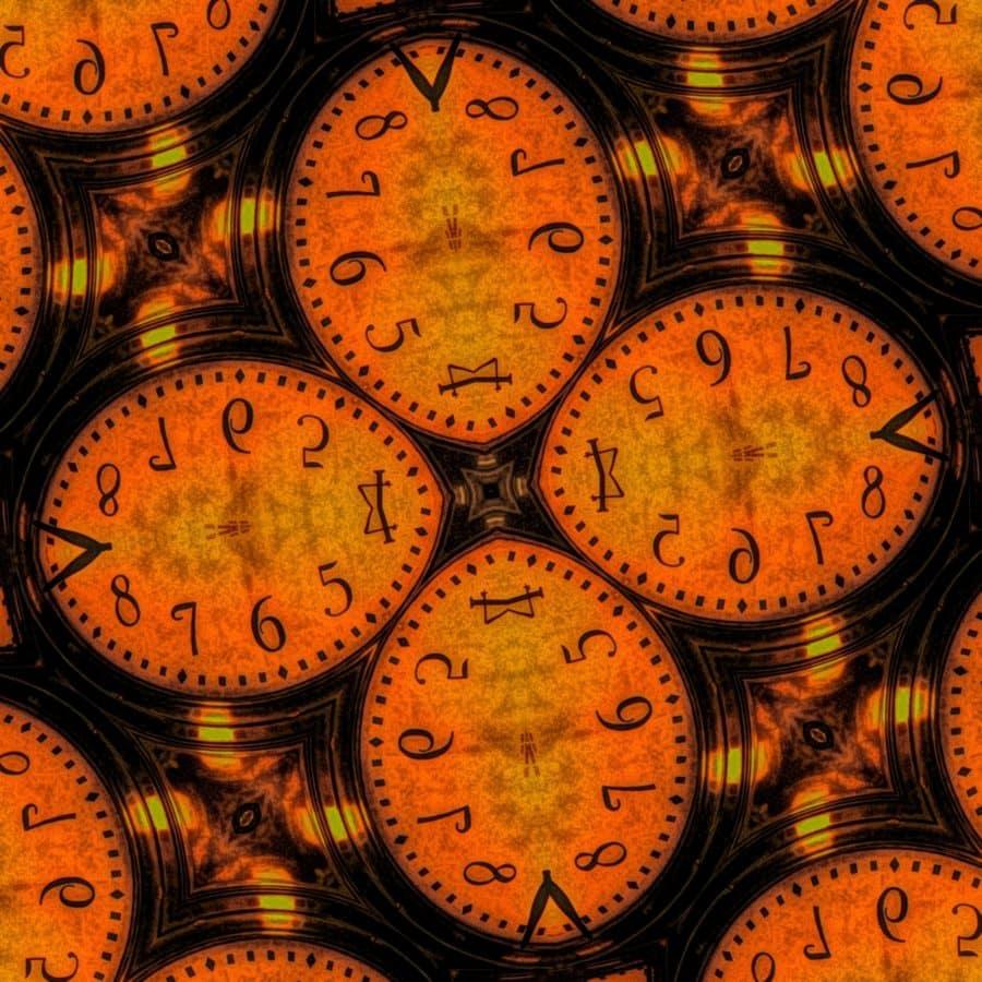 Arabesque, vervormde vorm, fotomontage, vorm, analoge klok, klok, tijd, uurwerk