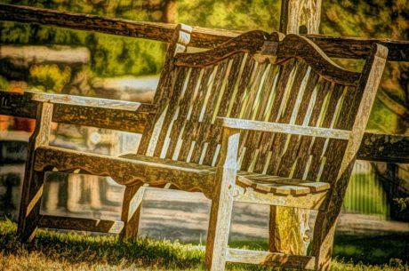 benken, oljemaleri, sete, stol, tre, natur, hage, gamle