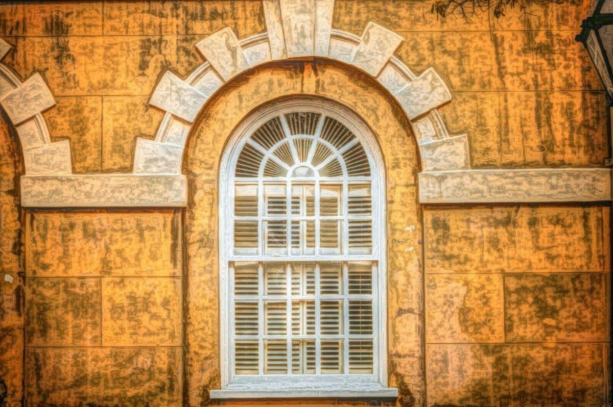 gotisch, Ölgemälde, Architektur, Fassade, alt, Fenster, Erstellen von, Tür