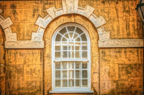 Gótico, pintura a óleo, arquitetura, fachada, velho, janela, edifício, porta
