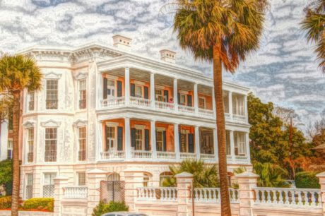 fine arts, oil painting, villa, structure, facade, residence, palace, building