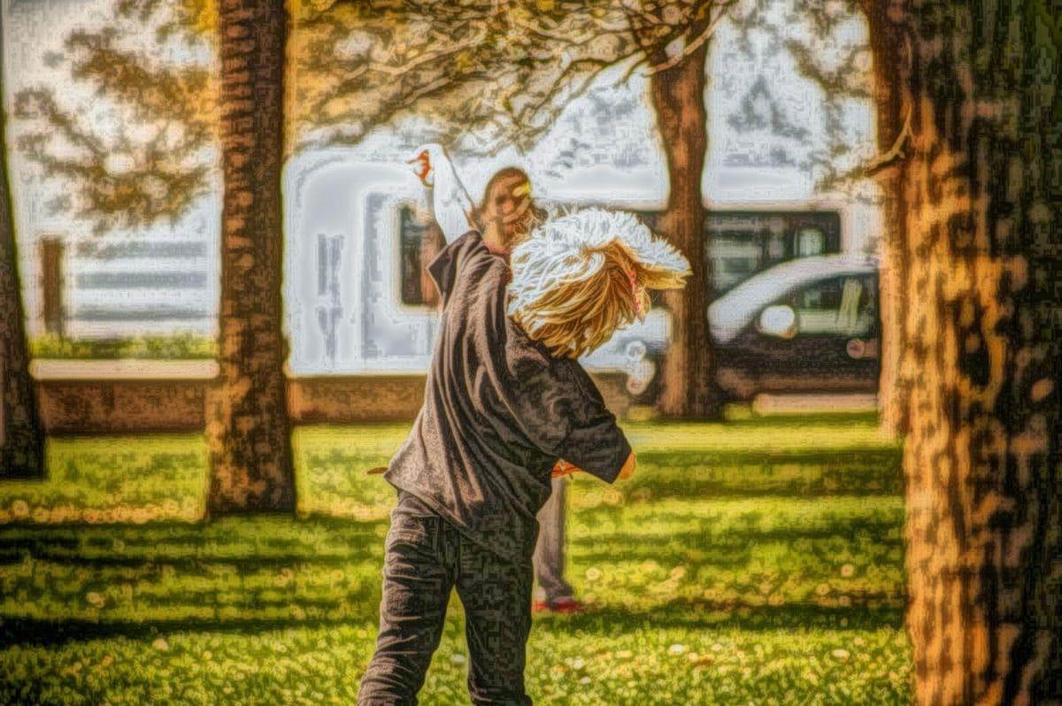 enfant, beaux arts, mode de vie, peinture à l'huile, herbe, à l'extérieur, Parc, arbre