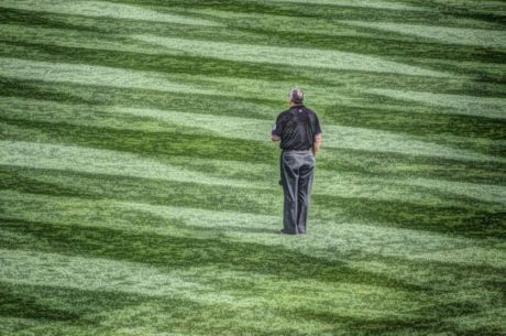 oil painting, person, field, grass, competition, people, stadium, outdoors