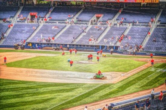 baseball, peinture à l'huile, domaine, structure, stade, jeu, gradins, compétition