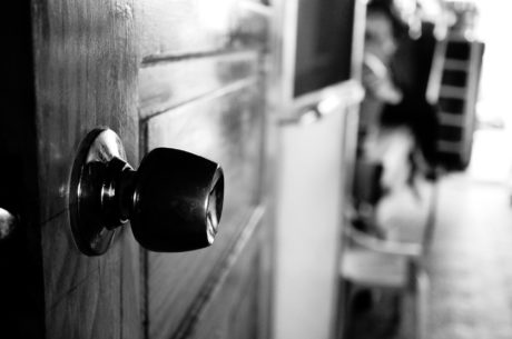 black and white, door, handle, monochrome, indoors, sepia, vintage, light