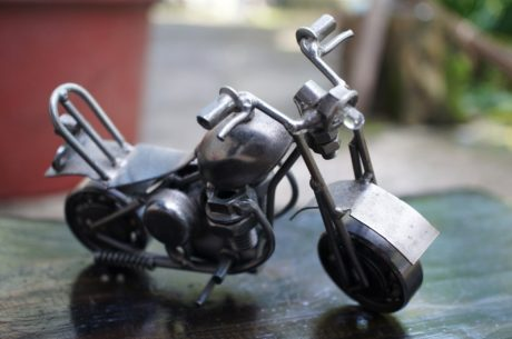 art, miniature, sculpture, stainless steel, toy, mechanism, wheel, vehicle