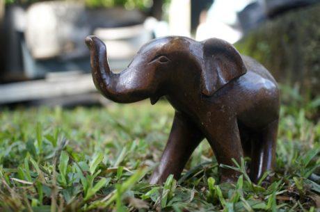 kunst, brun, græsplanter, skulptur, elefant, dyr, natur, græs