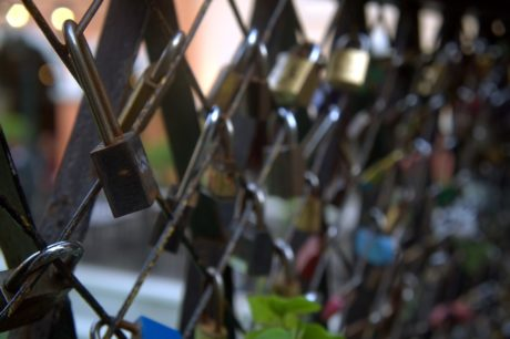 cast iron, fence, iron, padlock, steel, old, security, industry