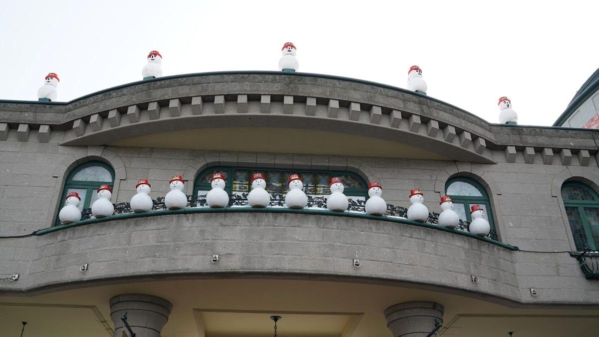 阳台, 圣诞节, 白天, 装饰, 假日, 雪人, 体系结构, 构建