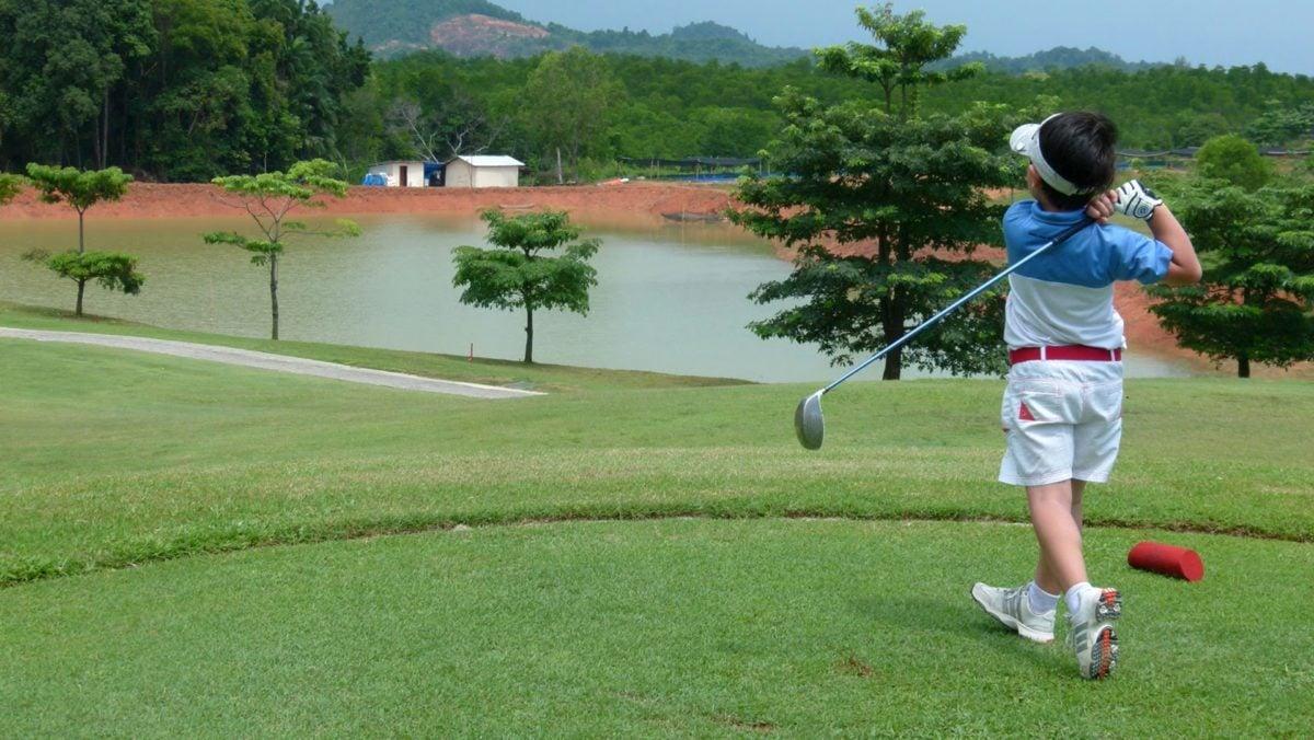 Atleta, infancia, Golf, césped, deporte, oscilación, controlador, Club