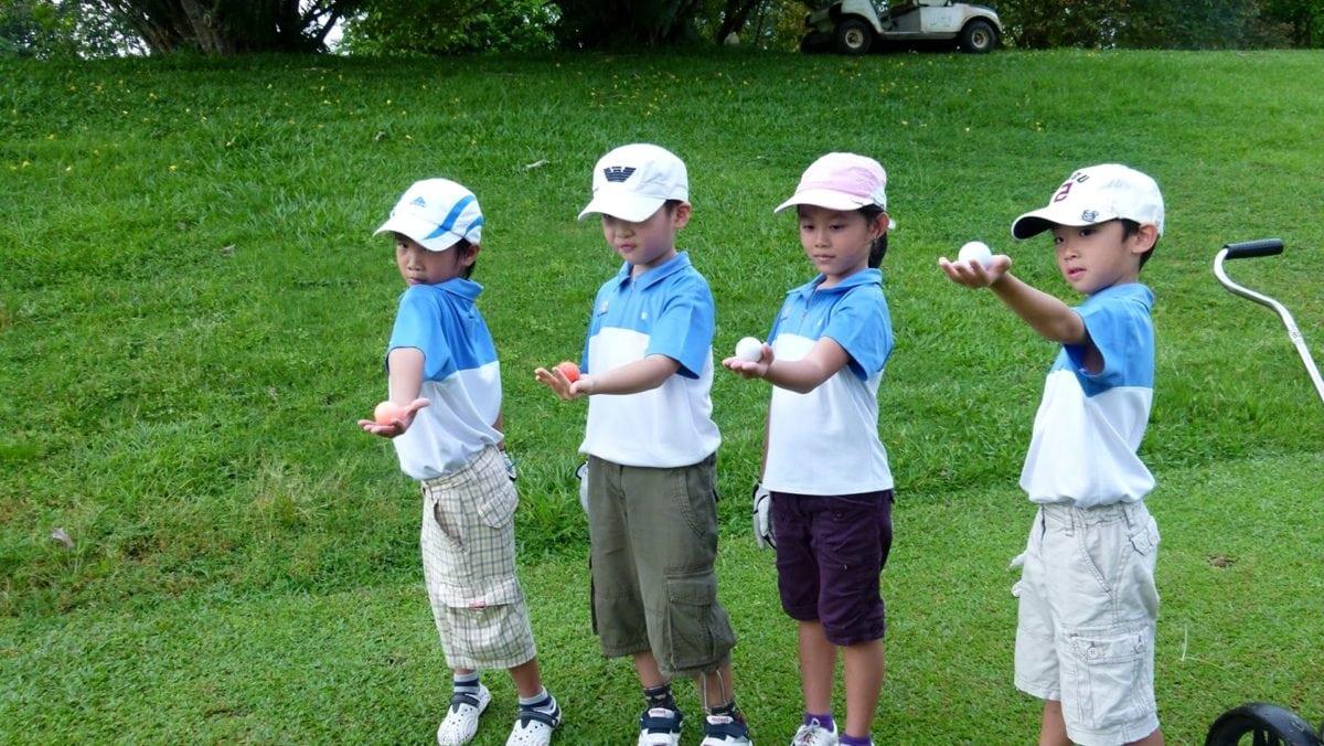 barndom, børn, Dreng, barn, Golf, sport, bold, græs