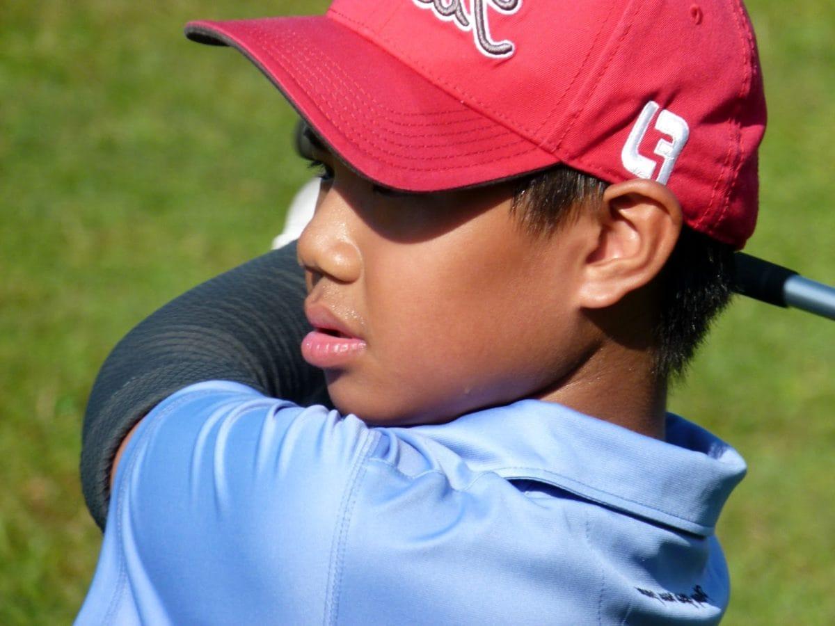 Golf, portrét, klobouk, konkurence, venku, dítě, rekreace, opotřebení