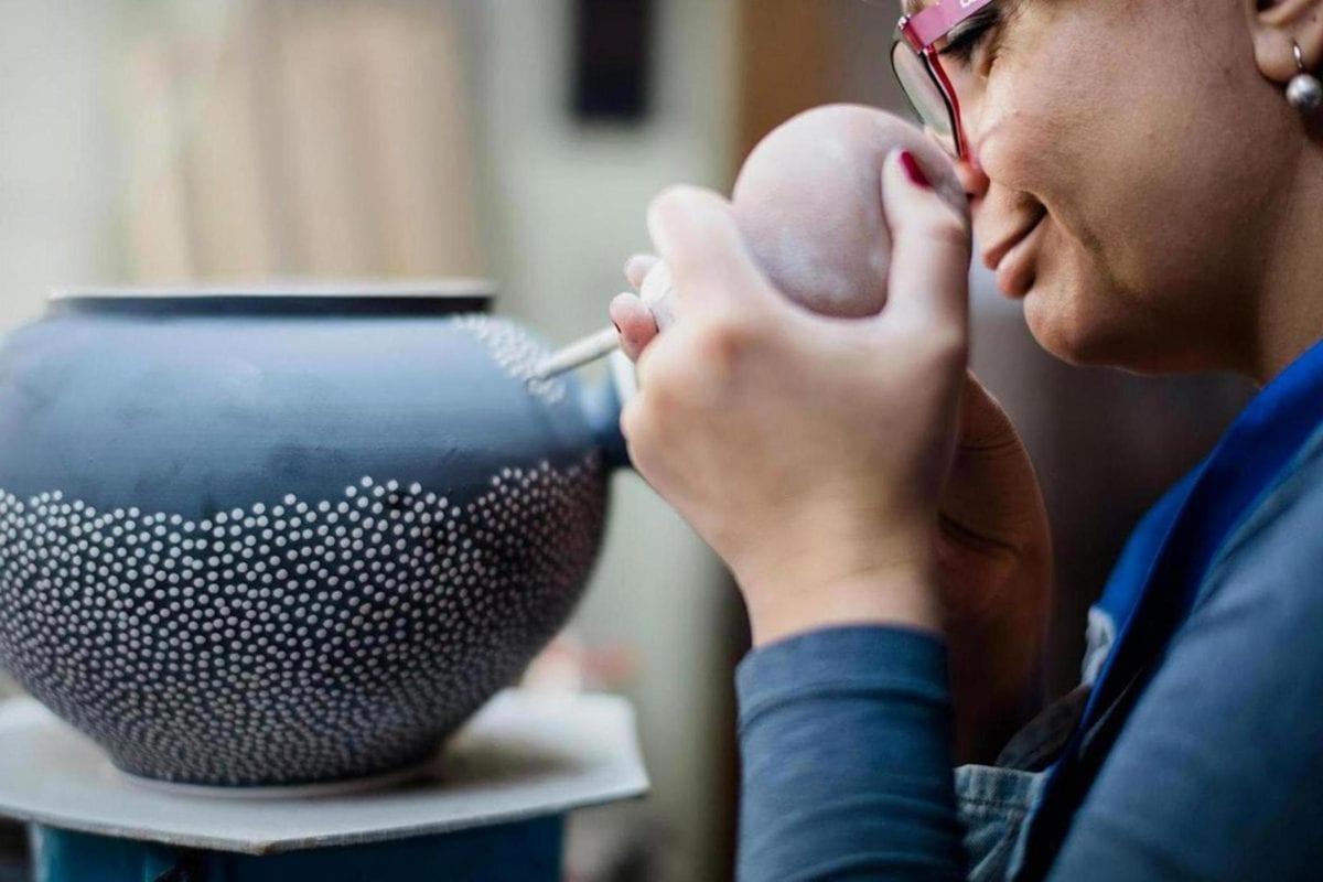 arte, ceramiche, mestiere, occhiali da vista, fatto a mano, verticale, donna, persone
