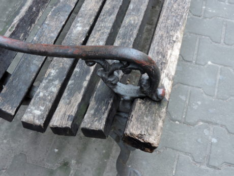 bench, cast iron, detail, furniture, metallic, old, iron, rust
