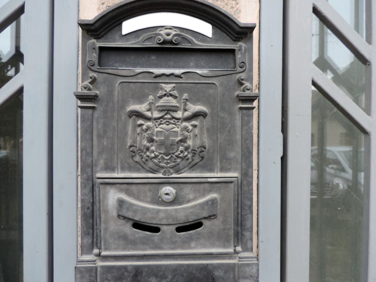 cast iron, mailbox, box, door, architecture, container, old, building