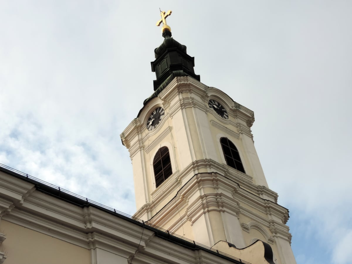 Byzantine, christianity, church, church tower, cross, gold, orthodox, Serbia
