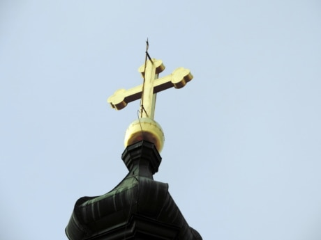 blue sky, church tower, cross, gold, architecture, device, statue, religion