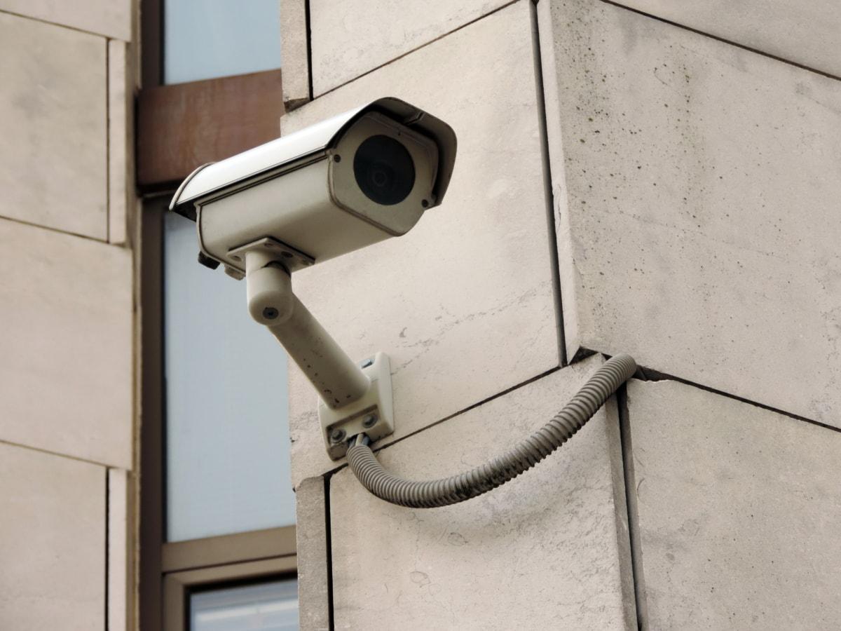 kamera, udvendig, marmor, overvågning, vindue, enhed, linse, sikkerhed