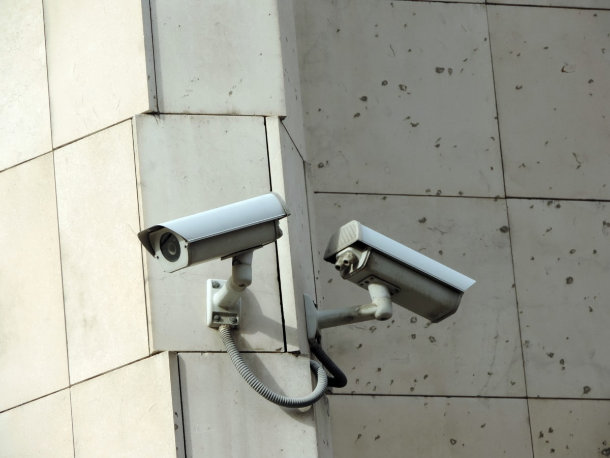 kamera, elektromosság, biztonsági, fal, ház, acél, belső, szoba