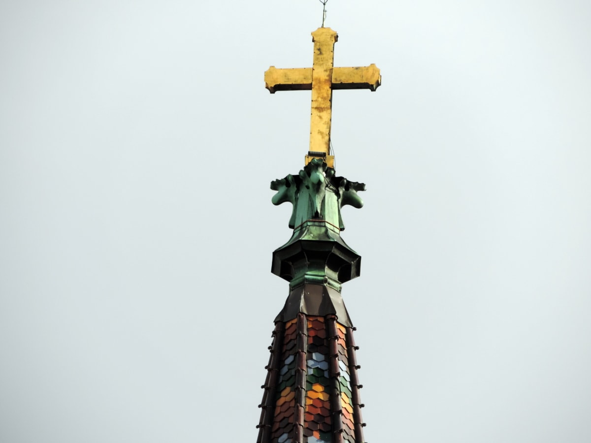 cathedral, catholic, church tower, cross, gold, religion, architecture, sculpture