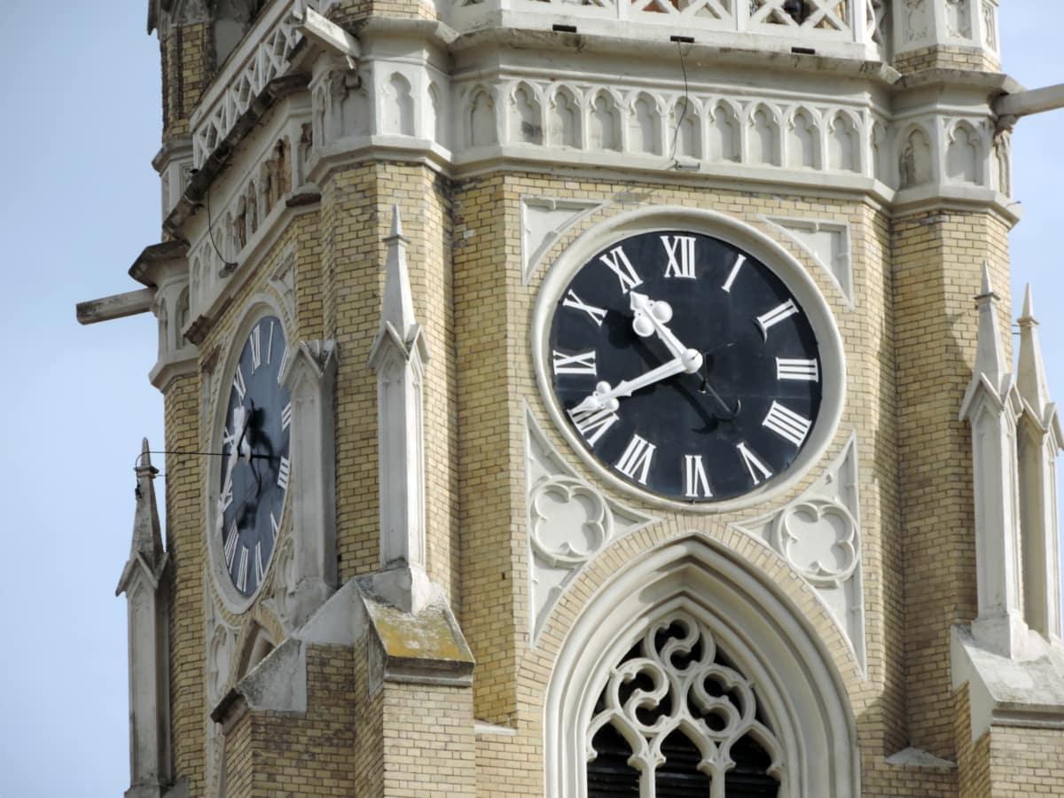 church tower, Gothic, landmark, building, architecture, analog clock, clock, old
