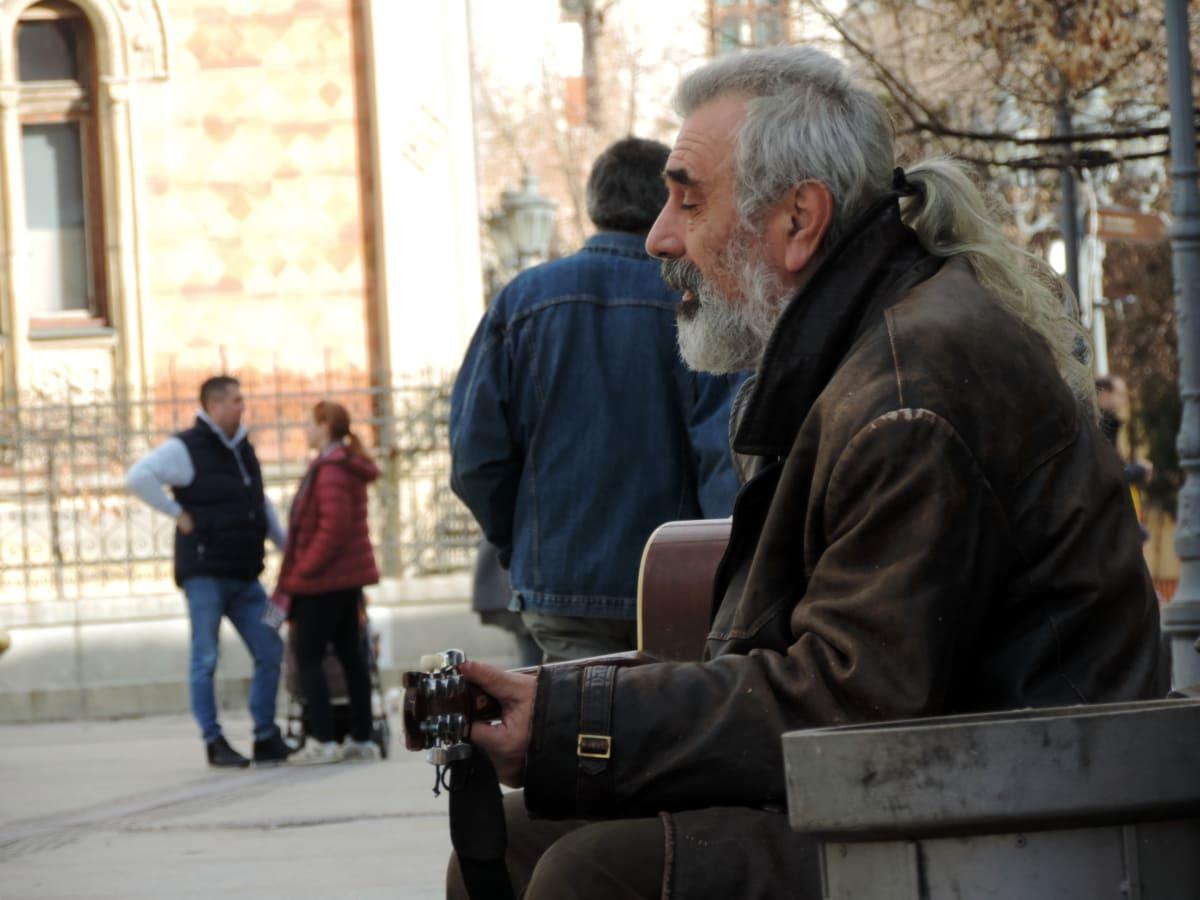 guitarrista, músico, hombre, personas, calle, vertical, Ciudad, Grupo