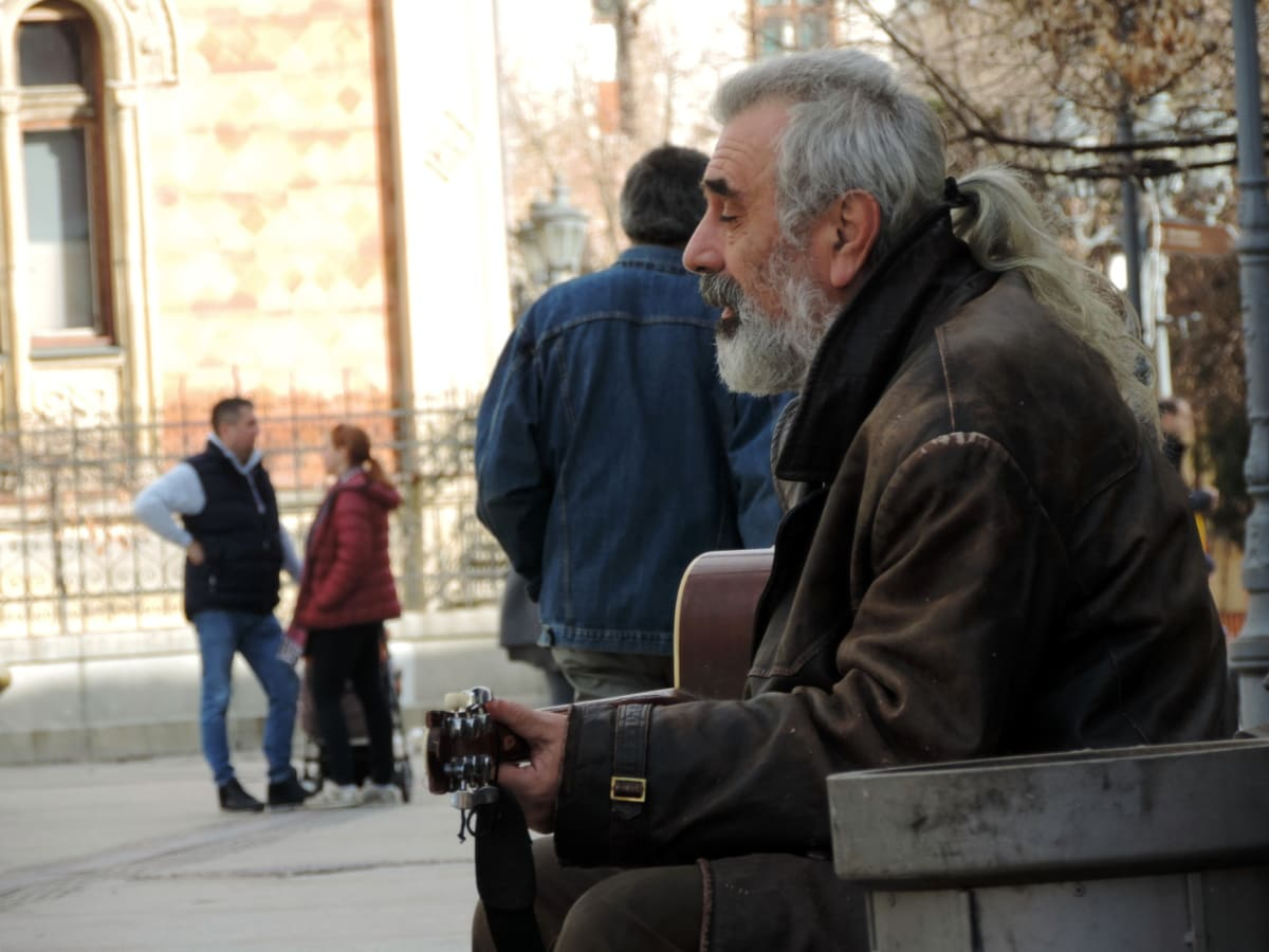 guitarist, musician, man, people, street, portrait, city, group