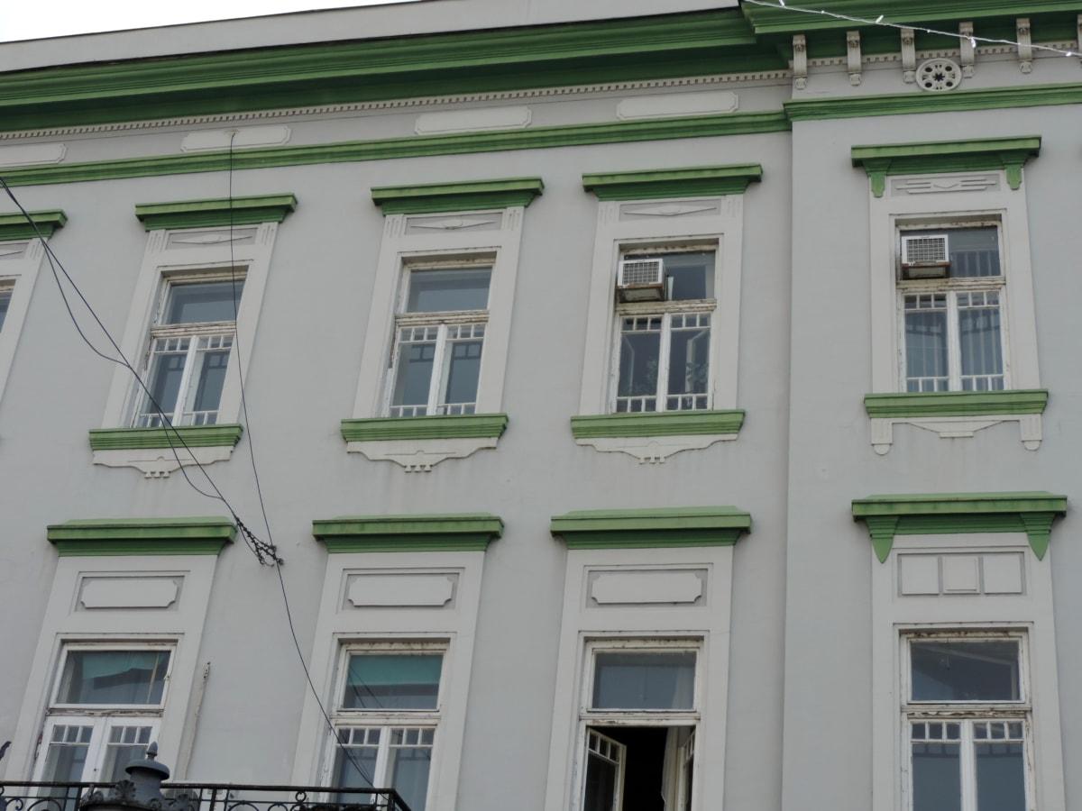 barokní, fasáda, budova, okno, architektura, dům, městský, byt