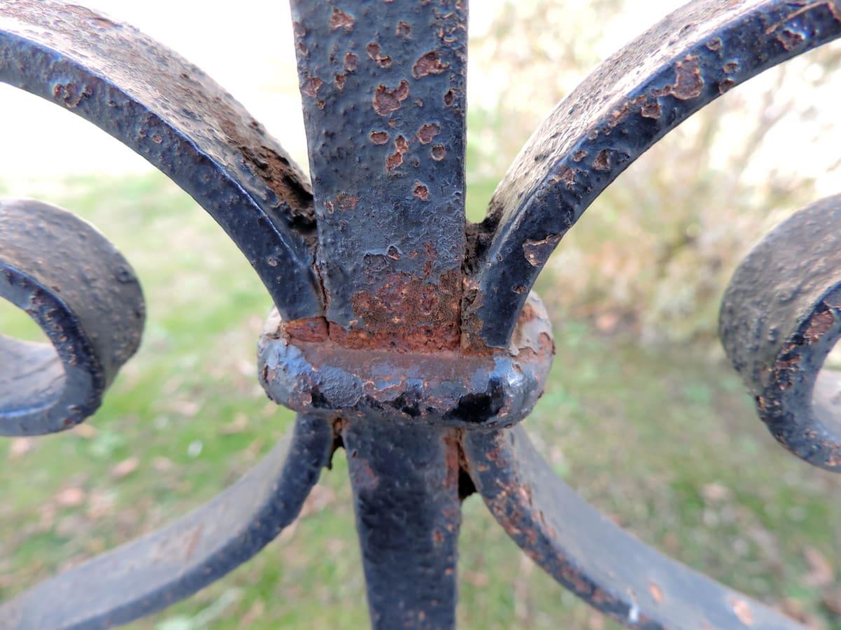 fer de fonte, en détail, antique, dispositif de fixation, clôture, jardin, fantôme, herbe