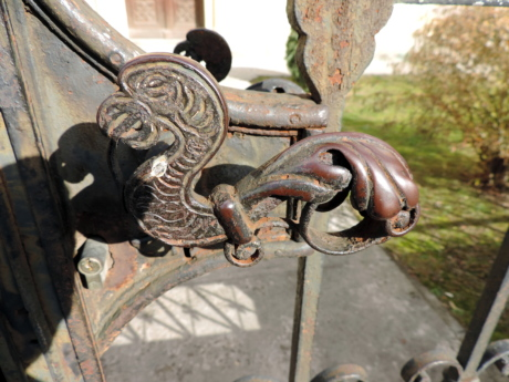 cast iron, front door, action, ancient, antique, architecture, art, chain