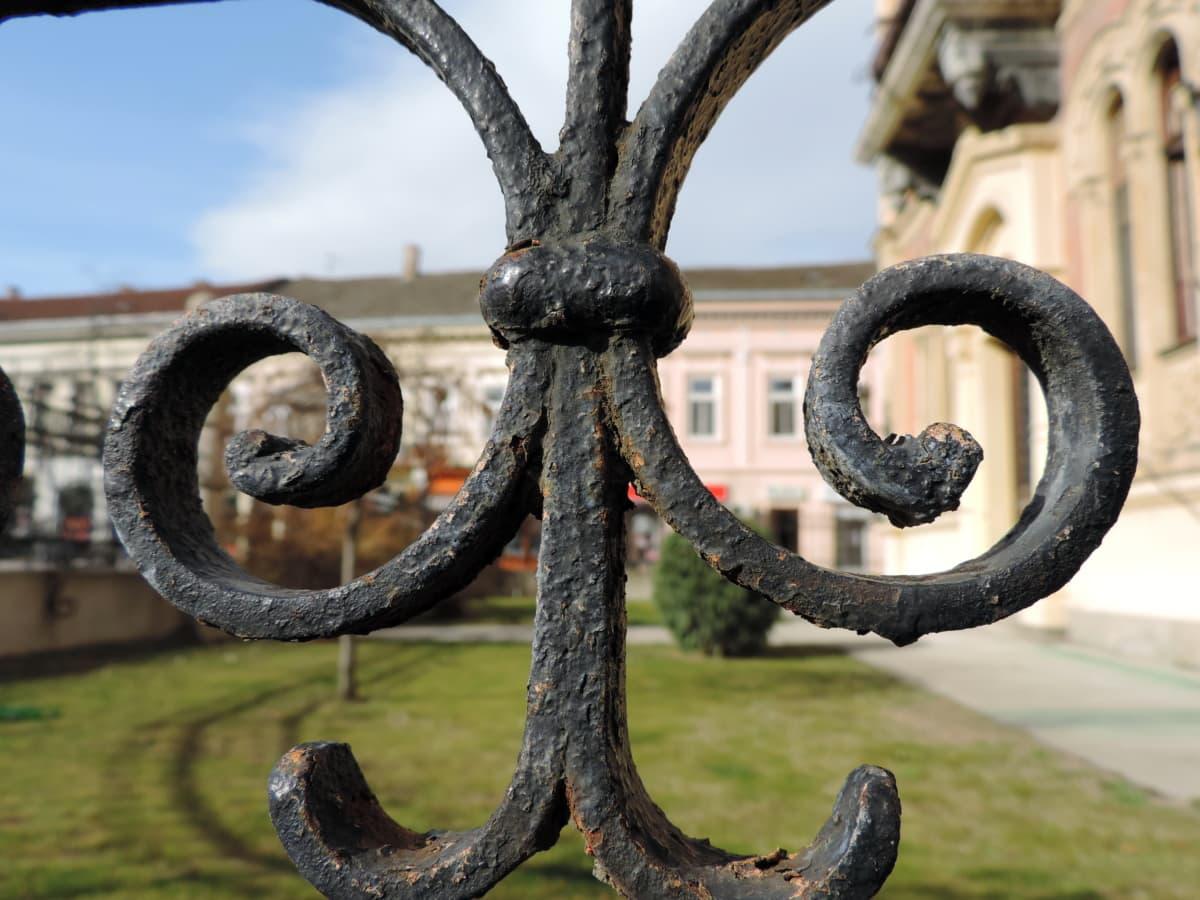 fer de fonte, en détail, clôture, à la main, objet, rouille, architecture, belle