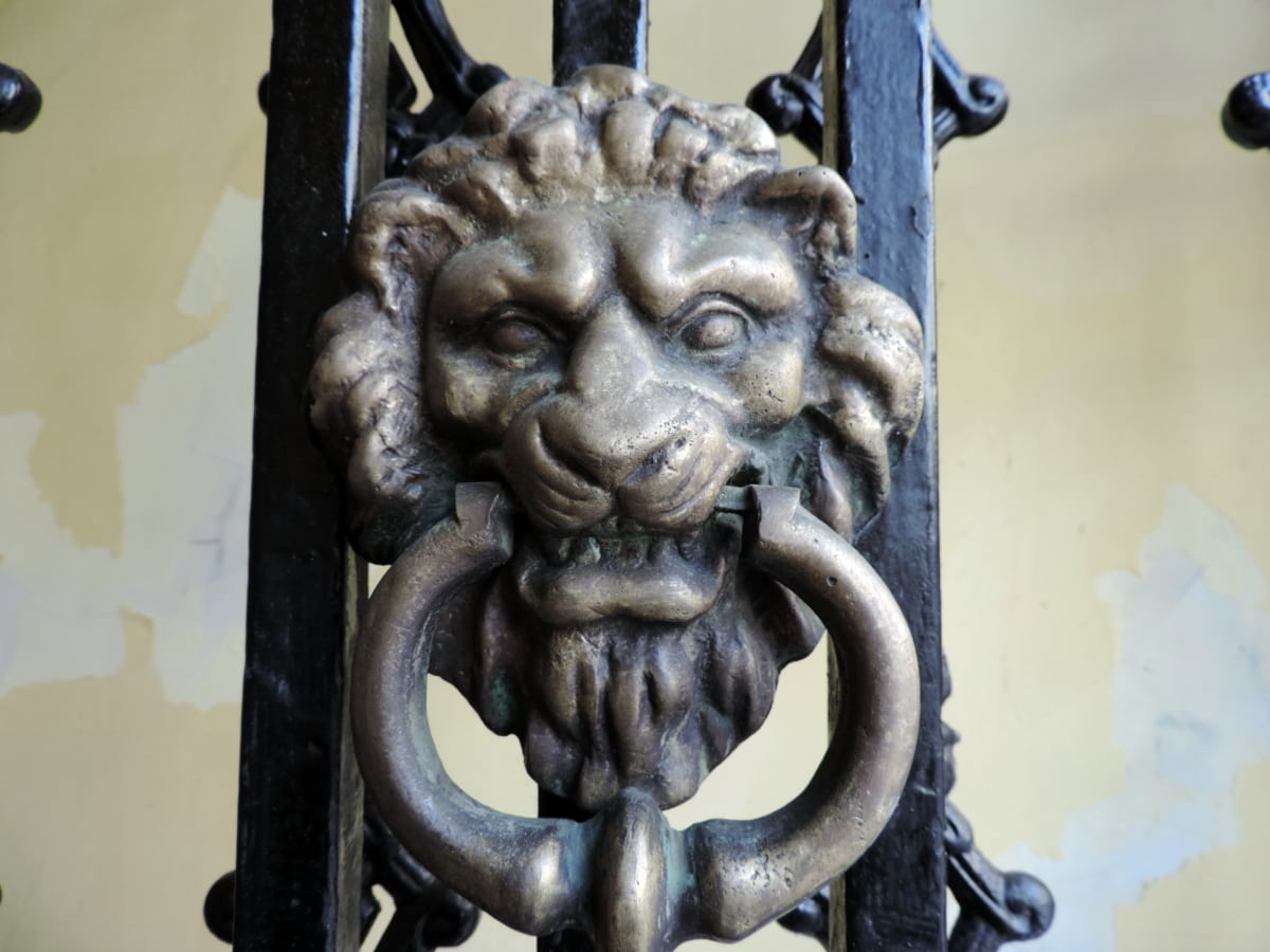 pronssi, gateway, løve, gamle, antik, arkitektur, kunst, kultur